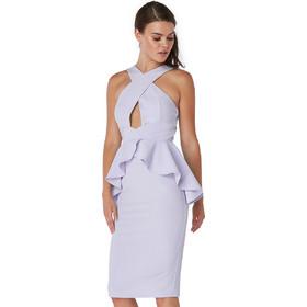 531653c3e71d Μωβ παστέλ μίντι φόρεμα με peplum