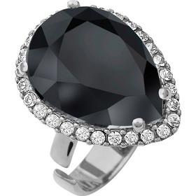 Ασημένιο δαχτυλίδι 925 ροζέτα δάκρυ με μαύρη πέτρα SWAROVSKI AD-V15819BL1 5d6fa50481d