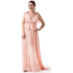 daea9ee6440 Σομόν Maxi Φόρεμα Κρουαζέ με Βολάν