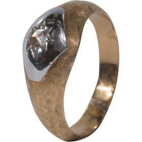 Ανδρικό δαχτυλίδι σε κίτρινο και λευκό χρυσό Κ18 με λευκό διαμάντη c97b7f85181