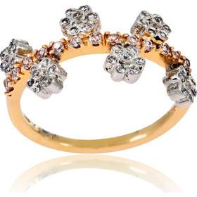 Δαχτυλίδι Γυναικείο Λουλούδια Ροζ και Λευκό Χρυσό 14 Καρατίων (Κ14) με  Ζιργκόν 016390 c286fef8678