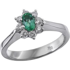 Δαχτυλίδι ροζέτα Κ18 με σμαράγδι και διαμάντια 020793 020793 Χρυσός 18  Καράτια b0883d40167