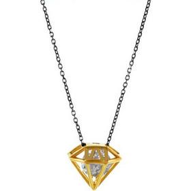 Κολιέ σε σχέδιο διαμαντιού με εντυπωσιακή εσωτερική πέτρα ζιργκόν σε  επιχρυσωμένο ασήμι και μαύρη πλατινωμένη αλυσίδα 22c3bd4b8aa