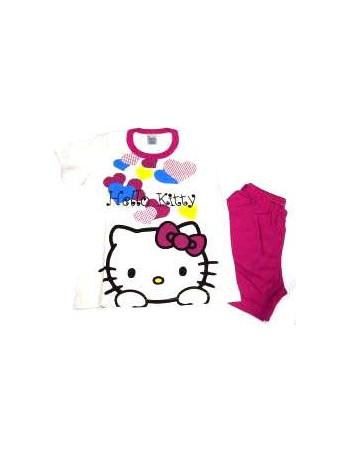 Πυτζάμα παιδική Hello Kitty κοντομάνικη βαμβακερή bd08b1bdf6b