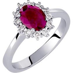 Λευκόχρυσο δαχτυλίδι Κ18 με brilliant και ορυκτό ρουμπίνι DBR121A c3b0d609c0f
