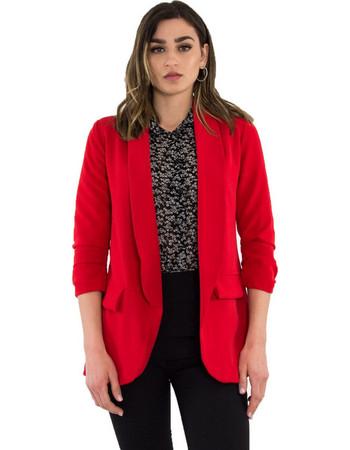 Γυναικείο κόκκινο σακάκι με βάτες 3 4 μανίκι 28033G e46c9a18750