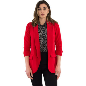 676a697934a9 Γυναικείο κόκκινο σακάκι με βάτες 3 4 μανίκι 28033G