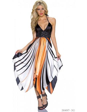 Μακρύ Βραδυνό Φόρεμα Πορτοκαλί- Μαύρο 2a59670995d
