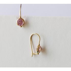 Χρυσά σκουλαρίκια μονόπετρα ροζ 14Κ ff30621b811