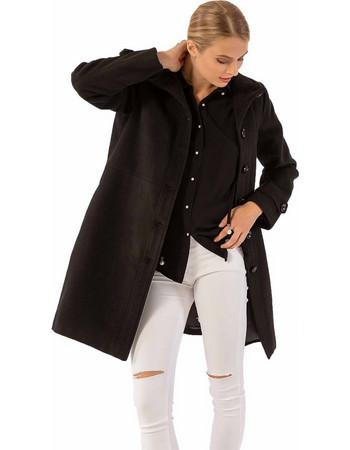 Παλτό σε ίσια γραμμή με πλαϊνές τσέπες - Μαύρο 8832271099e