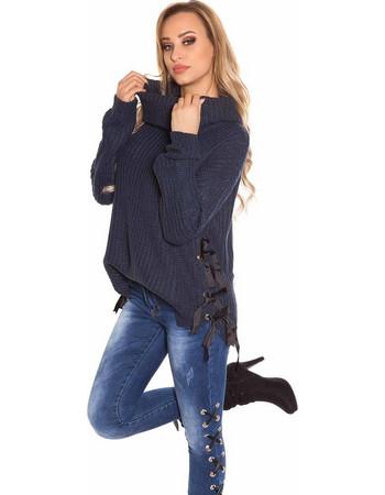 Μπλούζα πλεκτή με ψηλό ζιβάγκο Navy Blue eb297989662