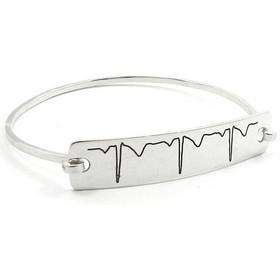 Βραχιόλι με το δικό σας καρδιογράφημα χαραγμένο πάνω σε ασημένια πλακέτα b14cb09b5ec