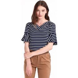 c968c04dc014 Ριγέ μπλούζα με βολάν στα μανίκια - Μπλε