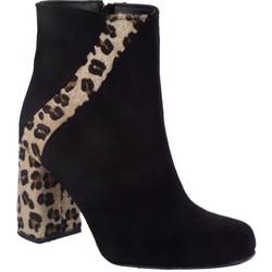 Smart Cronos Γυναικεία Παπούτσια Μποτάκια 6977-3529 Μαύρο Λεοπάρ Δέρμα  Καστόρι 434589 3ba57d6c66f
