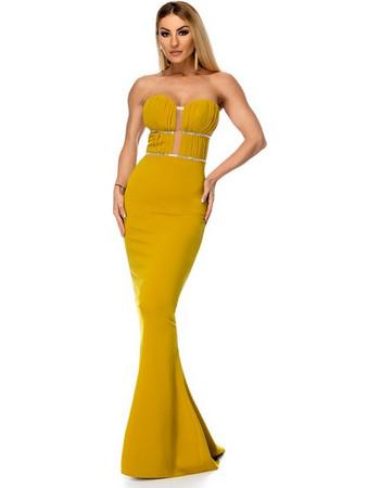 9275 RO Μάξι στράπλες φόρεμα με στρας - Μουσταρδί 011a5cbb1c5