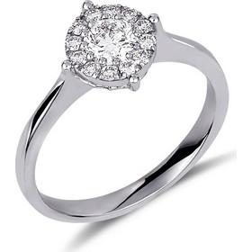 Δαχτυλίδι illusion από λευκό χρυσό 18 καρατίων με ένα κεντρικό διαμάντι  0.34ct και 12 περιμετρικά b3523145607