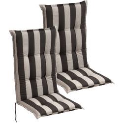 0a21387f051 vidaXL Μαξιλάρια Καρέκλας Κήπου με Πλάτη 2 τεμ. Σκούρο Ριγέ 120 x 52 εκ