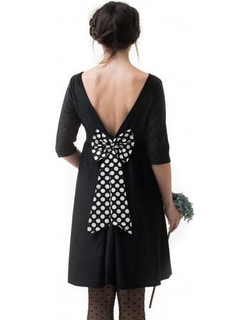 Μαύρο Βελούδινο Φόρεμα Με Φιόγκο Πουά da554ac459c