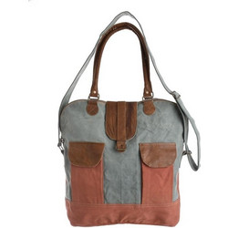 2edd1ea9ef Τσάντα Υφασμάτινη Τυρκουάζ-Καφέ Με Φερμουάρ 40x9x40cm