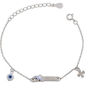 Βραχιόλι ταυτότητα παιδική για αγοράκι από ασήμι 925 με ματάκι και σταυρό  ASBB-0020- 43676add60f