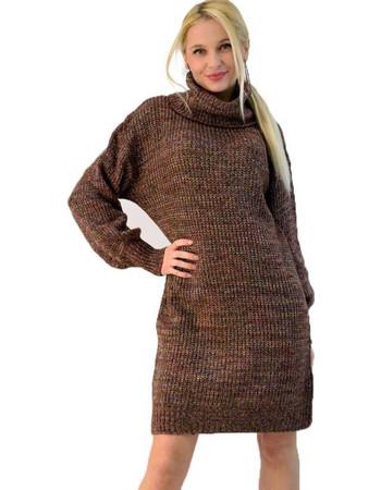 Πλεκτό φόρεμα ζιβάγκο με πολύχρωμη πλέξη ebd723b9ba9