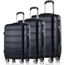 b018c51d13 Hoffmanns Βαλίτσες Ταξιδιού Καμπίνας σετ 3 τεμαχίων σε Μαύρο χρώμα με  τηλεσκοπικό χερούλι και ροδάκια -