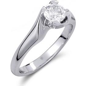 Μονόπετρο δαχτυλίδι από λευκό χρυσό 14 καρατίων με πέτρα Swarovski. PLL016 b7cd6fb56c6