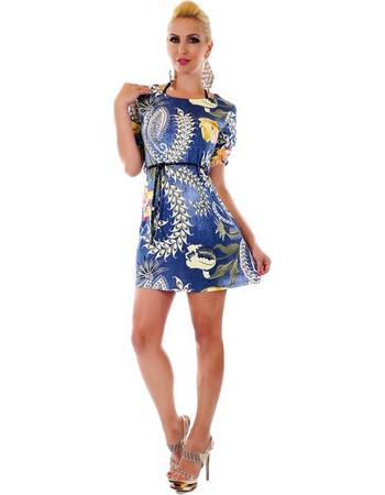 31053 SD Μίνι φλοράλ φόρεμα - Μπλε c1bd07a3db3