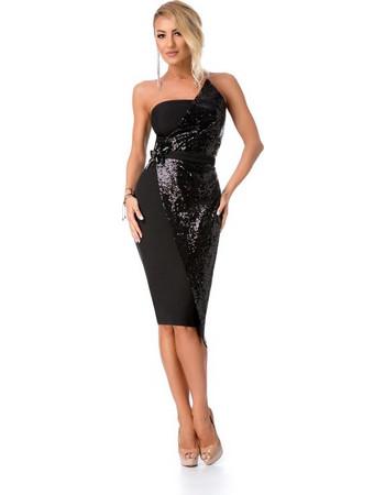 9276 RO Εντυπωσιακό μίντι φόρεμα με παγιέτες - Μαύρο 7b102cab49b