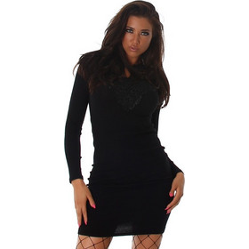 21d3f2af7e76 61080 LX Πλεκτό μίνι φόρεμα με κέντημα - μαύρο