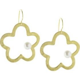 Χειροποίητα Σκουλαρίκια Λουλούδι Με Μαργαριτάρι Από Επιχρυσωμένο Ασήμι c4e5139b5c1