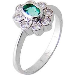 Λευκόχρυσο δαχτυλίδι Κ18 με brilliant και ορυκτό σμαράγδι DBR173A 35c3ab79b49