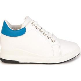 b00628eebd3 Αθλητικά λευκά με μπλε δερματίνη με εσωτερικό τακούνι 302221wh