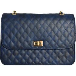 c68a6e92643 Γυναικεία καπιτονέ τσάντα ώμου μπλε δερματίνη 60663W