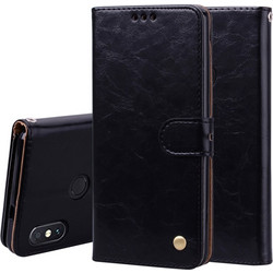 Business Style Oil Wax Texture Horizontal Flip Leather Case for Xiaomi Redmi Note 5 Pro,
