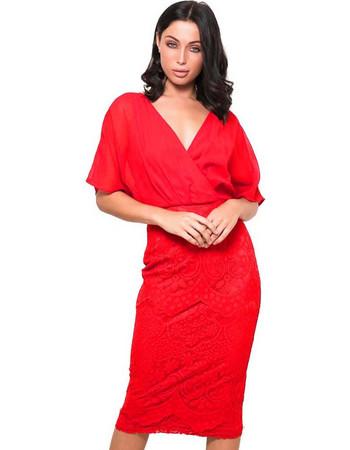 cocktail chic φόρεμα midi chiffon δαντέλα Joanna fire red b8f4d3ad0d8