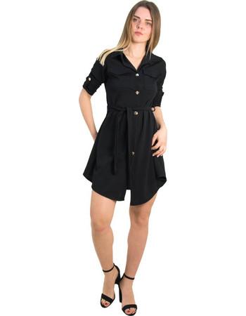 Γυναικείο μαύρο πουκαμισοφόρεμα με χρυσά κουμπιά 5005C b1ac36fb486