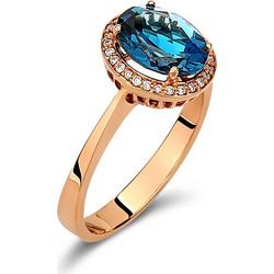 Δαχτυλίδι ροζέτα από ροζ χρυσό 18 καρατίων με μπλε τοπάζι στο κέντρο και  διαμάντια περιμετρικά. af2bccee814