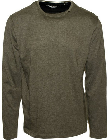 71436-16 Ανδρική μακρυμάνικη μπλούζα μακό - Χακί μελανζέ 5c678ac71b9