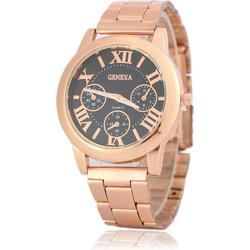 37908496aa Geneva Γυναικείο Ρολόι Καρπού Ροζ Χρυσό Μπρασελέ Μαύρο