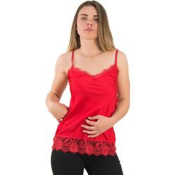 963c07dc7592 Γυναικείο κόκκινο σατέν τοπ με δαντέλα ράντες 8151