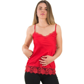 c06c7b5a05f1 Γυναικείο κόκκινο σατέν τοπ με δαντέλα ράντες 8151