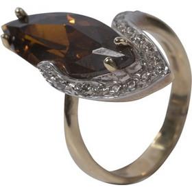 Γυναικείο δαχτυλίδι σε κίτρινο χρυσό Κ14 με λευκά ζιργκόν και καφέ πέτρα  τοπάζι 1cddffeb252