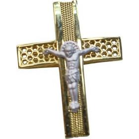Σταυρός χειροποίητος δίχρωμος σε κίτρινο και λευκό χρυσό Κ14 με εσταυρωμένο 775d3d06ec6