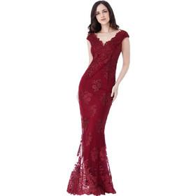 32519cdd55b4 romantic luxe βραδινό φόρεμα fine δαντέλα σε μπορντώ wine