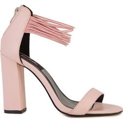 08a1f96910 Πέδιλα ροζ σουέτ δερματίνη με λαστιχένια μπαρέτα και χοντρό τακούνι  302190pink. Tsoukalas Shoes
