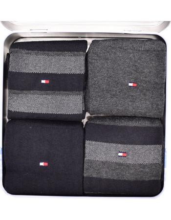 TOMMY SOCK MEN STRIPE BOX 4 PACK BLACK. Tommy Hilfiger 10370a9c063