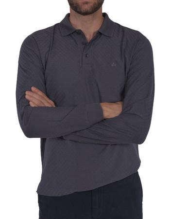 8ae71b7e6d5f Dur ανδρική μονόχρωμη πόλο μπλούζα με μακρύ μανίκι - 20210202 - Γκρι
