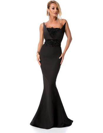 9278 RO Βραδινό μάξι φόρεμα γοργονέ με κέντημα - Μαύρο 5a50c1ab8ab