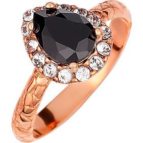 Ασημένιο δαχτυλίδι ροζέτα δάκρυ 925 με μαύρη πέτρα SWAROVSKI AD-E1213BR1 251b3e7a189